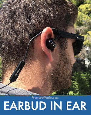 Earbud in ear lawn mowing Bluetooth heading protection headphones