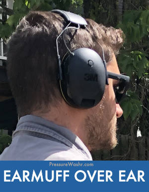 Earmuff headphones for lawn mowing