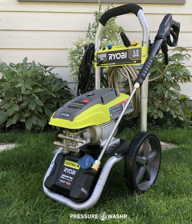Ryobi Electric Inverter Motor Pressure Washer Angle View Pic With Logo