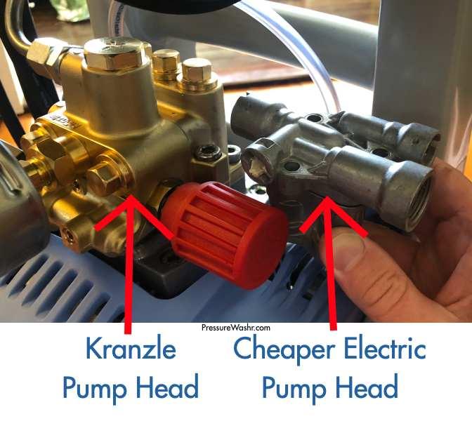 Compare kranzle pump head to cheaper electric pressure washer pump head