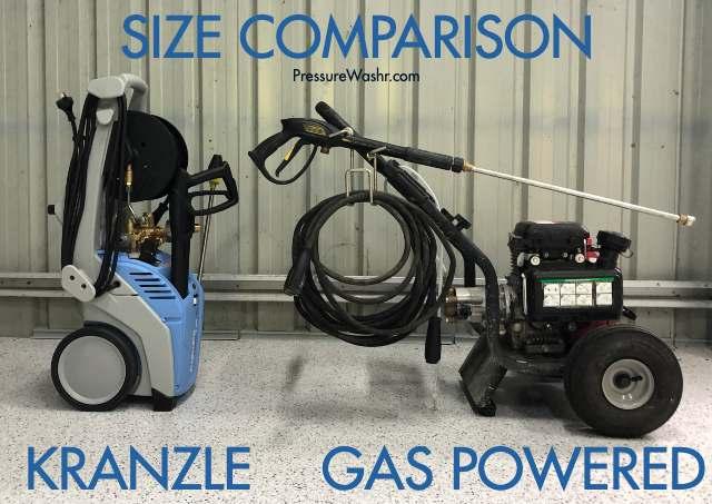 Size compare Kranzle pressure washer vs gas