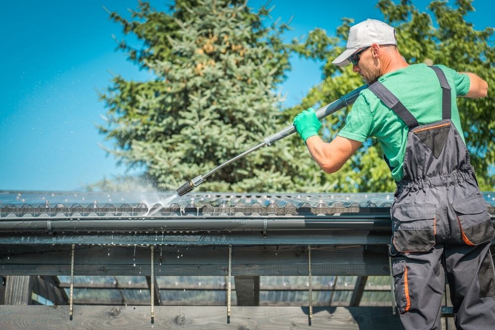 pressure washing roof and gutters